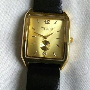 Citizens Ladies NEW gold tone tank watch